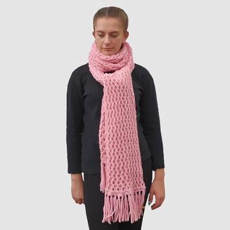 Женский розовый шарф грубой вязки. Зимний длинный шарф. Товстий довгий шарф.