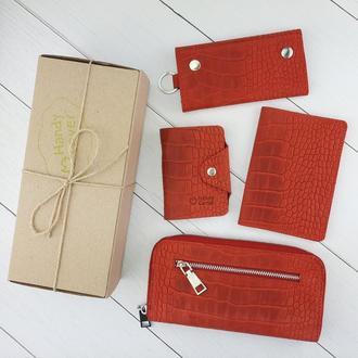 Подарочный набор №27: Кошелек + обложка на паспорт + ключница + визитница (красный крокодил)