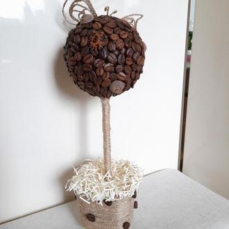 Кофейное дерево и джутовая филигрань. Топиарий. Декор. Подарок.