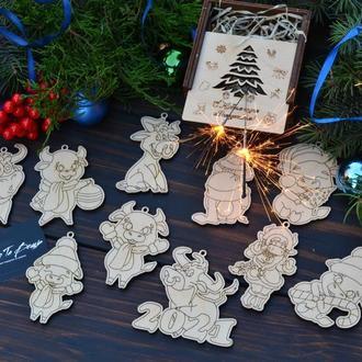 Деревянные елочные игрушки, набор игрушек из дерева,новогодний набор деревянных игрушек,бык,быки
