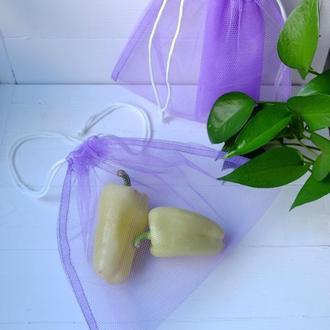 Эко мешочек из сетки сиреневый, эко торбочка, еко пакет для продуктов, еко мішок із сітки