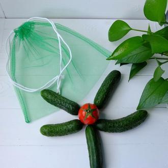 Эко мешочек из сетки зеленый, эко торбочка, еко пакет для продуктов, еко мішок із сітки