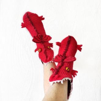 Вязаные красные носки-драконы р. 30-39