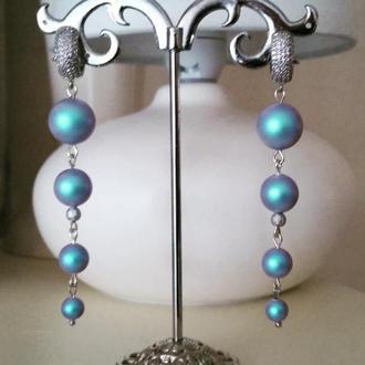 Небесно голубые дизайнерские серьги с жемчугом Swarovski