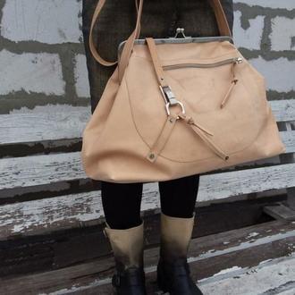 Натуральная кожа.  огромная сумка с фермуаром, саквояж, стиль ретро