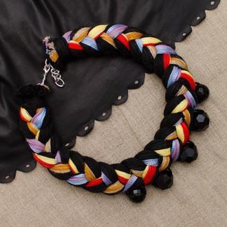 Колье-коса из хлопковых нитей Colored Black