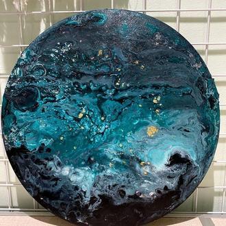 """Абстрактная картина """"Нептун"""" в технике Fluid Art"""