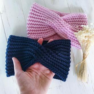 Вязаная повязка на голову с перехлестом из итальянской мериносовой шерсти