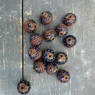 Набор из 7 круглых бусин из полимерной глины 15 мм в тибетском стиле для создания украшений.