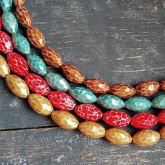 Набор из 6 разноцветных граненых бусин из полимерной глины размером 20 * 10 мм, покрытых эмалью.