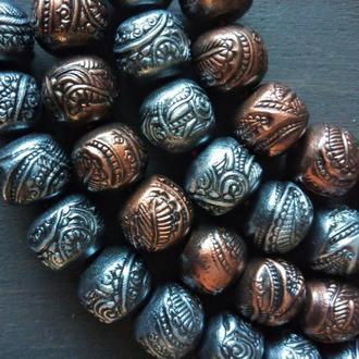 Набор из 6 бусин диаметром 14 мм из полимерной глины ручной работы в цвете меди и серебра