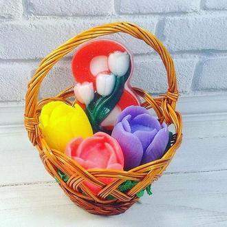 """Подарочный набор мыл на 8 марта """"Корзинка с тюльпанами"""""""