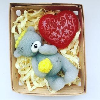 """Сувенирное мыло , романтический набор """"Мишка Тедди + ажурное сердце"""""""