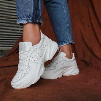 Женские кожаные белые кроссовки, с 36 по 41 размер
