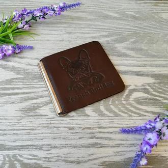Гаманець затискач чоловічий темно-коричневий для грошей і карток без застібки з тисненням бульдог шкіра