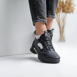 Женские кожаные черные кроссовки, с 36 по 41 размер
