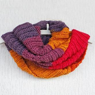 Женский шарф снуд из шерсти Зимний шарф хомут Длинный шерстяной шарф в полоску Фиолетовый, желтый