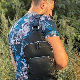 Мужская кожаная сумка со скрытым карманом для оружия