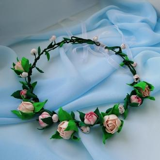 """Цветочный венок на голову """"Античная роза"""""""