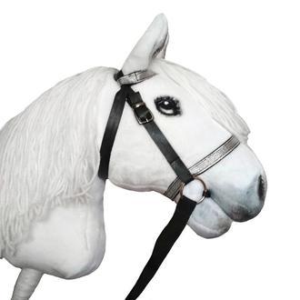 Белая лошадка на палочке Конь на палке Игрушка лошадь на палке