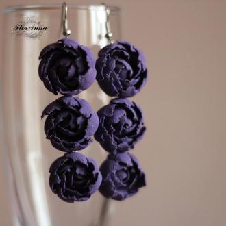 """Фиолетовые длинные серьги """"Тройные пионы"""". Подарок женщине, девушке"""