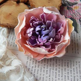 Піон квітка брошка брошь заколка цветок фіолетовий