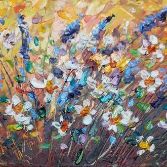 Картина маслом с цветами миниатюра.