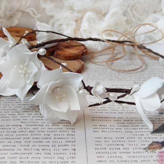 Віночок обруч ободок білий квітковий ніжний