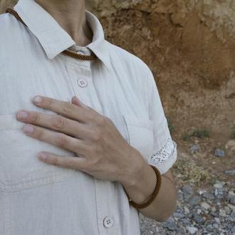 Комплект: жгут-трансформер на шею + одинарный браслет тёмно-коричневый