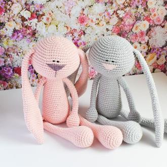 Вязаный розовый зайчик. Мягкая игрушка для сна и игры. Подарок новорожденному. Эко-игрушка.