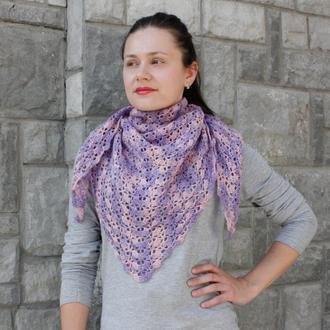 Розовая шаль бактус Шерстяная шаль вязаная Весенняя шаль на шею