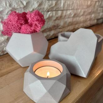 Подарочный набор из бетона: шкатулка для украшений, кашпо с стабилизированным мхом и подсвечник