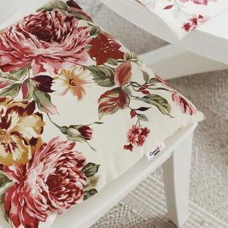 Чехол на стул. Подушка для сидения с цветами. Мягкое сиденье.
