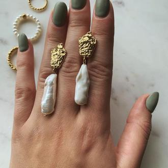 Серьги «Антик» барочный жемчуг, золото