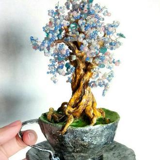 Цветущее дерево из бисера в чашке, голубой бонсай