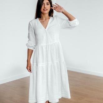 Льняное платье длины миди, белый цвет