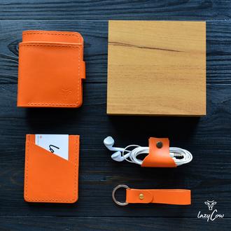 Подарочный бокс из четырех предметов оранжевого цвета