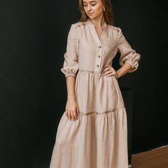 Льняное платье с лентами