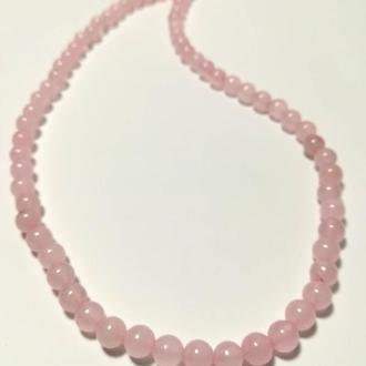Бусы из Розового кварца, натуральный камень, цвет розовый и его оттенки, тм Satori \ Sk - 0061