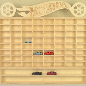 Детский гараж полка парковка для машинок из дерева фанеры Hot Wheels c полками на стену