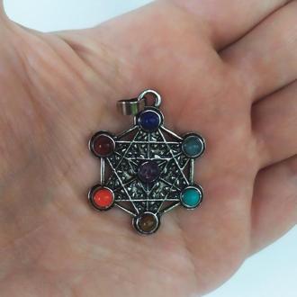 """Кулон """" 7 чакр в гексаграмме """" из натуральных камней"""