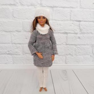Зимняя вязаная одежда на Барби, туника на Барби, подарок девочке