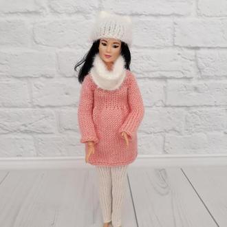 Зимний вязаный костюм для Барби, одежда на Барби, подарок девочке