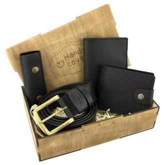 Мужской подарочный набор Handycover №41 черный (ремень, портмоне, обложка, ключница)