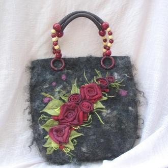 Валяная сумка ′Зимние розы′