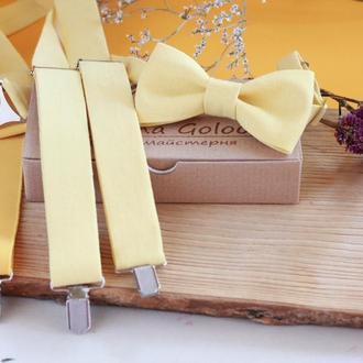 Комплект Подтяжки и Бабочка Желтый