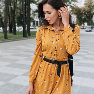 Насыщенное жёлтое платье мини