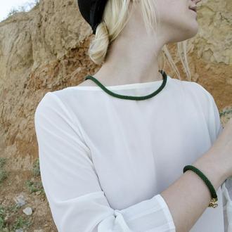 Комплект: джгут-трансформер на шию + одинарний браслет, темно-зелений