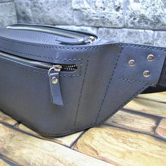 Кожаная сумка на пояс PS01-grey