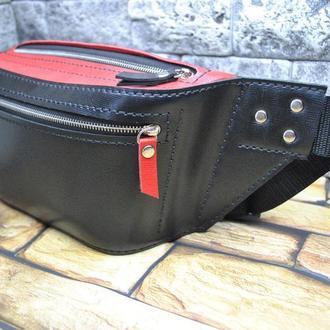 Черно-красная стильная сумка на пояс PS01-black+red